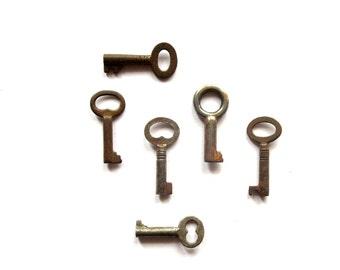 6 vintage skeleton keys Antique key collection Antique metal keys Skelton keys Barrel keys 6 keys Wedding keys Old bulk keys, bit 11A