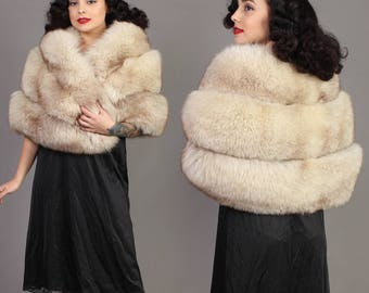 vintage CRYSTAL FOX fur STOLE arctic wrap cape shawl wedding rockabilly pinup glam 1960s 60s small S