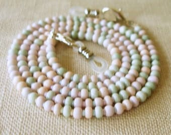 Pastel Eyeglass Holder,  Glasses Chain, Eyeglass Lanyard, Eyewear, Mint Green, Pink