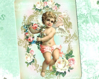 Gift Tags, Cherub, Vintage Style, Tags, Roses, Party Favors