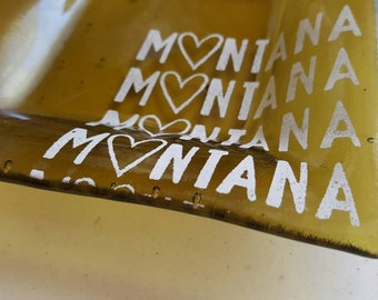 Recycled Glass Montana Love Dish - Olive