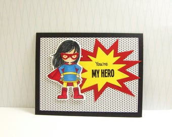 Hero Mother's Day Card, Super Mom Mother's Day Card, Super Girl Mother's Day Card, Cartoon Mother's Day Card, You're My Hero Mother's Day