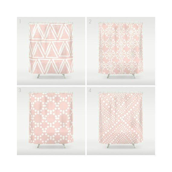 Blush Pink Shower Curtain - Geometric Shower Curtain - Modern Shower Curtain - Shower Curtain - Triangle Shower Curtain - Pink and White