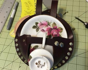 Steampunk Tea duelling teacup holster brown/brass