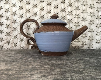 Ceramic Teapot in Sky Blue and Chocolat Brown Clay