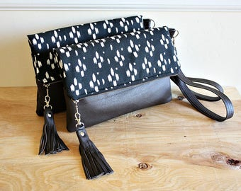 Foldover tribal print clutch black brown with leather trim tassel Wrist strap  --READY TO SHIP--