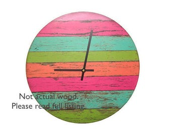 """10"""" or 12"""" SILENT Reclaimed """"Wood"""" Wall Clock, Bright Bold Color Wall Clock, Rustic Wall Clock, Rustic Wall Decor  (NOT Real Wood) - 1775"""