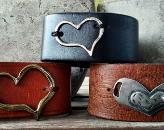 Rustic Hearts Recycled Leather Cuff Bracelets on black or brown leather. 20.00 each