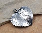 Sterling Silver Leaf Pendant,  1pc,  Leaf Charm, Charms for Earrings, 925, Sterling Silver Charms- P187
