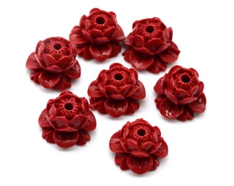 Red Cinnabar Lotus    Beads, 10x14mm, 10pcs,   Acrylic beads, Lotus Flower -B890