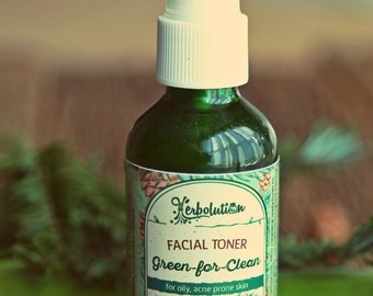 Green for Clean Facial Toner with Fir, Seaweed, Tea Tree, Aloe, Melissa. Organic, Vegan, Natural great for Acne and problem skin 2 oz