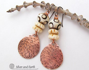 African Tribal Earrings, Hammered Copper Earrings, Carved Bone Earrings, Bohemian Earrings, Earthy Ethnic Boho Chic African Tribal Jewelry
