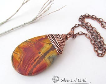 Red Creek Jasper Pendant, Large Stone Necklace, Earthy Natural Stone Jewelry, One of a Kind Jewelry, Copper Wire Wrapped Stone Pendant