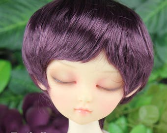 Fatiao - New Dollfie MSD Kaye Wiggs 1/4 BJD Size 7-8 inch Dolls Wig - eggplant