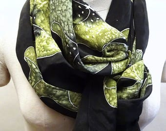 Bright Green Moonflowers - Hand Painted Silk Scarf - large scarf, 14x72 inches, wearable art