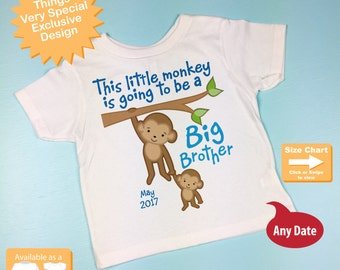 Personalized This Little Monkey is Going to Be A Big Brother Shirt or Onesie with Due Date (09082012b)