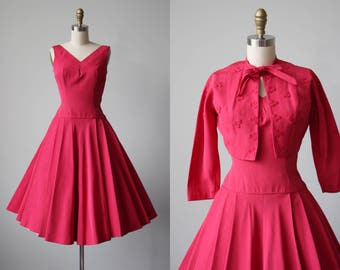 1950s Dress - Vintage 50s Dress - Vivid Fuchsia Pink Silk Faille Party Dress and Bolero w Embroidery + Studs XS - Light My Way Dress