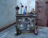 1/12th scale Miniature Witches or Wizards display case lots of accessories, OOAK, Reserved for Suzanne