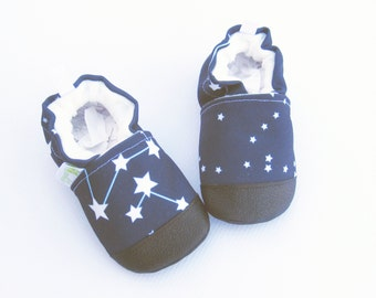 Eco-Canvas Vegan Constellation / Non-slip Soft Sole Baby Shoes / Made to Order / Babies Toddlers Preschool