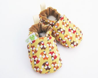 Classic Vegan Fox in Gold / All Fabric Soft Sole Baby Shoes / Made to Order / Babies