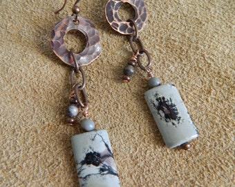 Textured Copper and Jasper Dangle Earrings
