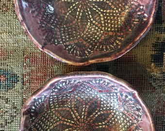 Ceramic bowls  Burgundy pottery bowls in wine stain glaze tapa plate - SOUP BOWL- set of 2 -tableware organic shaped ice cream Bowls