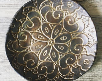 Ceramic Platter Gold Serving Platter  fruit bowl , golden pottery, Tableware,  cheese platter cake plate