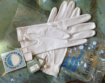 Vintage White Leather Gloves Deadstock