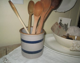 Stoneware Jar Utensil Holder Preserve Jar Butter Crock Blue Blue striped crock Country Cottage Rustic Prairie Primitive Blue Gray Jar