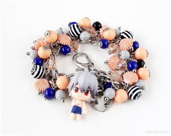 Kaworu Nagisa Charm Bracelet, Navy Blue, Orange, Stripes, Summer, Kawaii Jewelry, Anime, NGE