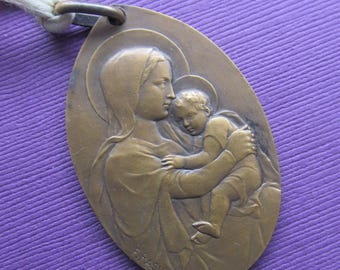 Antique Madonna And Child Religious Medal Virgin Mary Baby Jesus With Bells Signed Rasumny  SS27