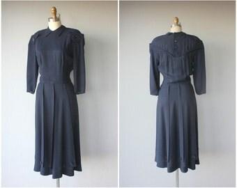1940s Rayon Dress | 40s Day Dress | 1940s Dress | Navy Blue 40s Dress | 40s Dress
