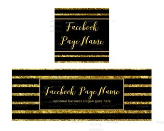 Facebook Banner - Timeline Cover and Profile Picture - Facebook Timeline Cover - Glam Cover - Gold Glitter 1-17