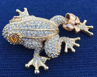 Vintage Rhinestone Frog Pin Brooch Gold Bow Topaz Eyes