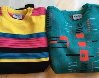 2 Vintage Meister Ski Sweater Neon Retro Hipster L & XL