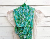Summer Scarf, Long Scarf, Sheer Scarf, Lightweight Scarf, Greenery Scarf, Blue and Green Scarf, Spring Scarf, Wrap, Shawl