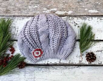 Knit Beret, Grey Hat with Flower, Knit Hat, Grey Knit Hat with Flower, Winter Hat, Tam, Knitted Beret, Women Hat, Beanie