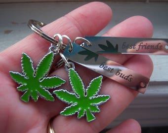 Best Buds Keychains - Leaf Keychains- Pot Leaf Keychain -Weeds Inspired Keychains-Marijauna Keychains-Best Friends Pot Keychains -Free Gift