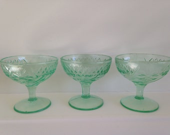 Jenkins Glass Green Floral and Diamond Band Pattern Depression Glass
