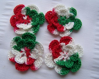 Appliques hand crocheted flowers set of 4 Christmas cotton 1.5 inch white red green