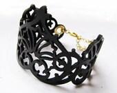 Laser Cut Leather Adjustable Cuff - Black and Gold Brass Lace Floral Crown Bracelet - EMPRESS