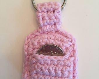 Light Pink Crocheted Quarter Keeper/ Quarter Keeper/ Crocheted Quarter Keeper