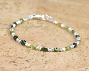 Tourmaline and sterling silver bracelet