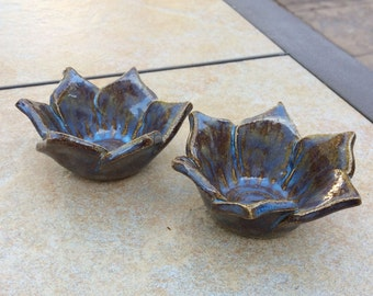 Two Small Flower Bowls for Candles Snacks Sauces Blue Brown