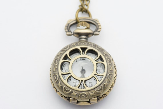 Sun & Moon Pocket Watch Necklace | Long Necklace Watch | Watch Locket Necklace | Pocket Watch Pendant | Ladies Pocket Watch - WA00025