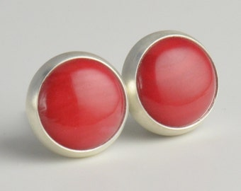 small sterling silver 8mm red coral stud earrings