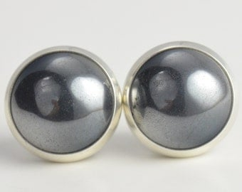 hematite 10mm sterling silver stud earrings
