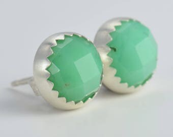 natural chrysoprase rose cut 8mm sterling silver stud earrings pair