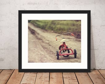 The Journey Ahead, red tricycle, rusty and worn, dirt road, Fine Art Photograph, 8x10
