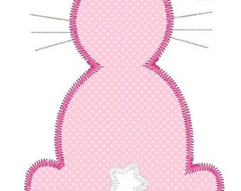 Zigzag Easter Bunny Outline Machine Embroidery Applique Design